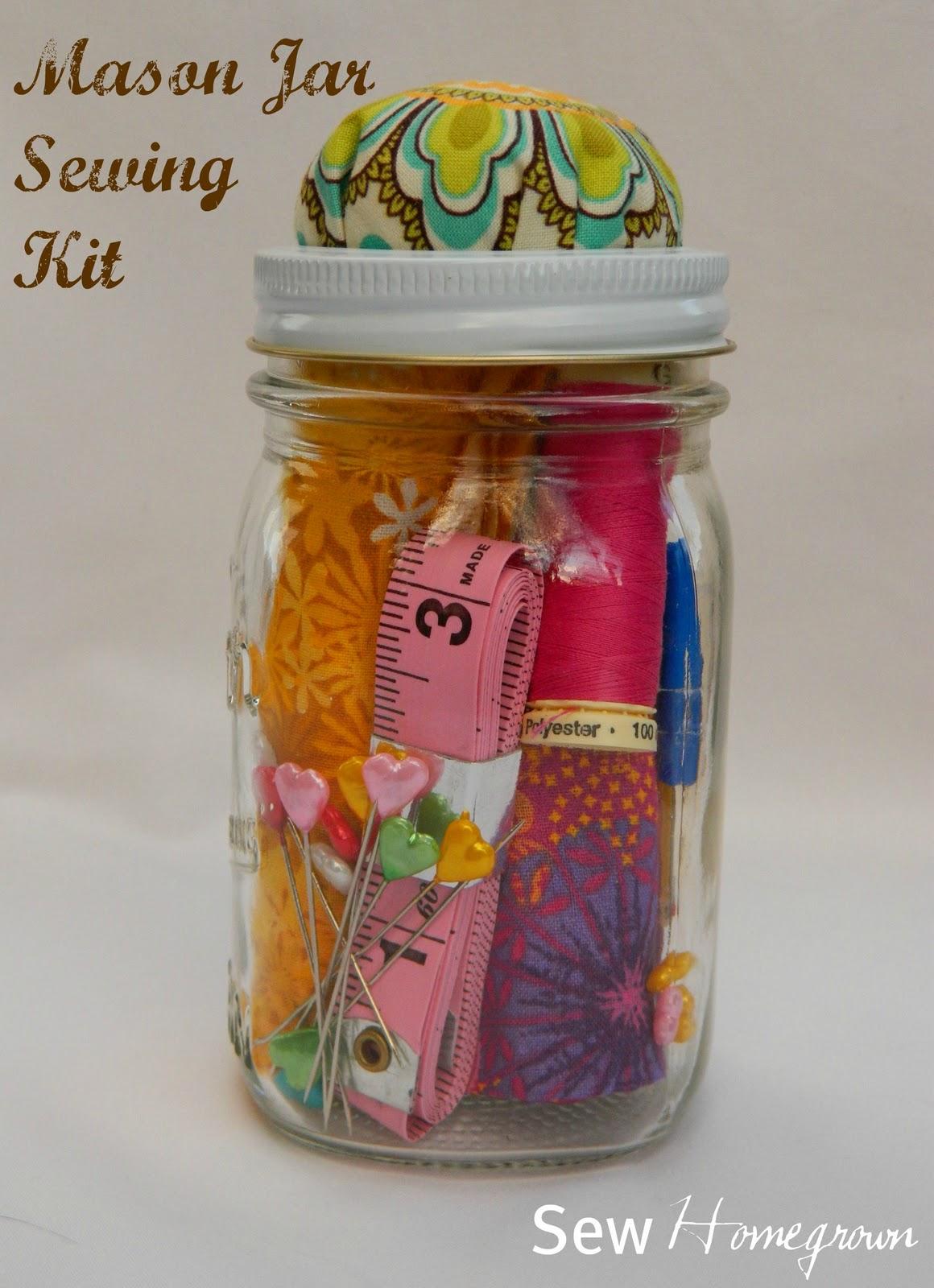 Sew Homegrown: {DIY} Mason Jar Sewing Kit - the tween version