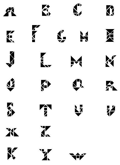 Alfabeto Tangram - soluções