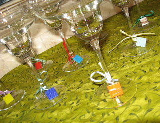 Margarita Glasses with Mosaic Tile Wine Charms