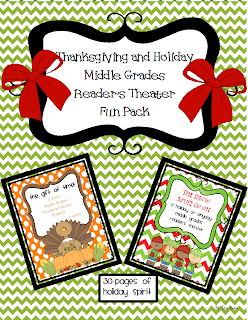 "If you are looking for engaging Thanksgiving and Holiday focused tools for your classroom, this fun pack is just for you! TWO reader's theaters with reader response questions, word work, journal topics, and a craftivity.  This FUN PACK includes: -A Gift of Time! Thanksgiving Middle Grades Reader's Theater This 7 1/2 page, 13-character script focuses on a group of students looking forward to the Holiday Food Strive-the annual school-wide food drive to support the City Food Pantry. The problem is that the students are more focused on bringing in the most items so they can win an ice cream and pizza party, not focus on the act of GIVING.  In addition to the script, this reader's theater Thanksgiving bundle includes: -word work-as students read they will find 8 words in the text that they will need to determine the meaning of using context clues -reader response questions to be completed after reading -two journal topics for students to reflect and write about after completing the script  Also included in this FUN PACK is: The Show Must Go On...a middle grades reader's theater that your students will love to perform about a group of 6th grade students that are ready to ""graduate"" from Merna Elementary. During their last day of school before the graduation ceremony they reflect/flashback to a time in the year when they ran into a bit of a problem during the year based on one student's silly actions. The silly actions of this student put the holiday musical performance in jeopardy.  The students work together to come up with a solution so the performance can go on as planned. This high-interest, realistic fiction reader's theater will have your students laughing out loud at the thoughts and actions of the 13-character cast.  The Holiday reader's theater packet includes: -a 7 page script -4 reader response questions -a Snowflake Craftivity your students will love making with just cotton swabs, glue, and glitter  This fun pack will make your students excited for the holidays, but actively engaged in the classroom during this joyful time."