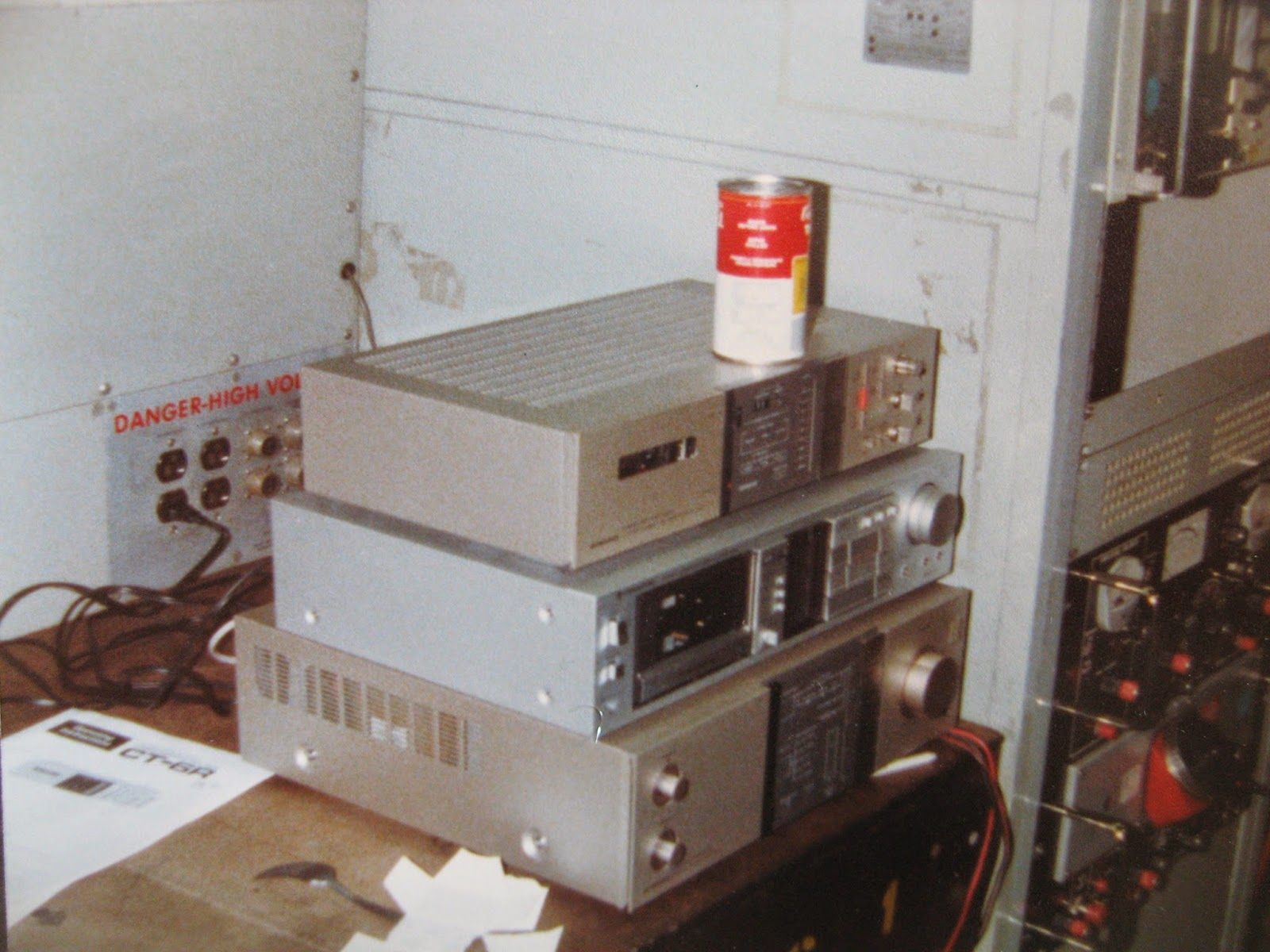 Stereo set up in the Calibration Lab shop 670 on board USS Nimitz 1982