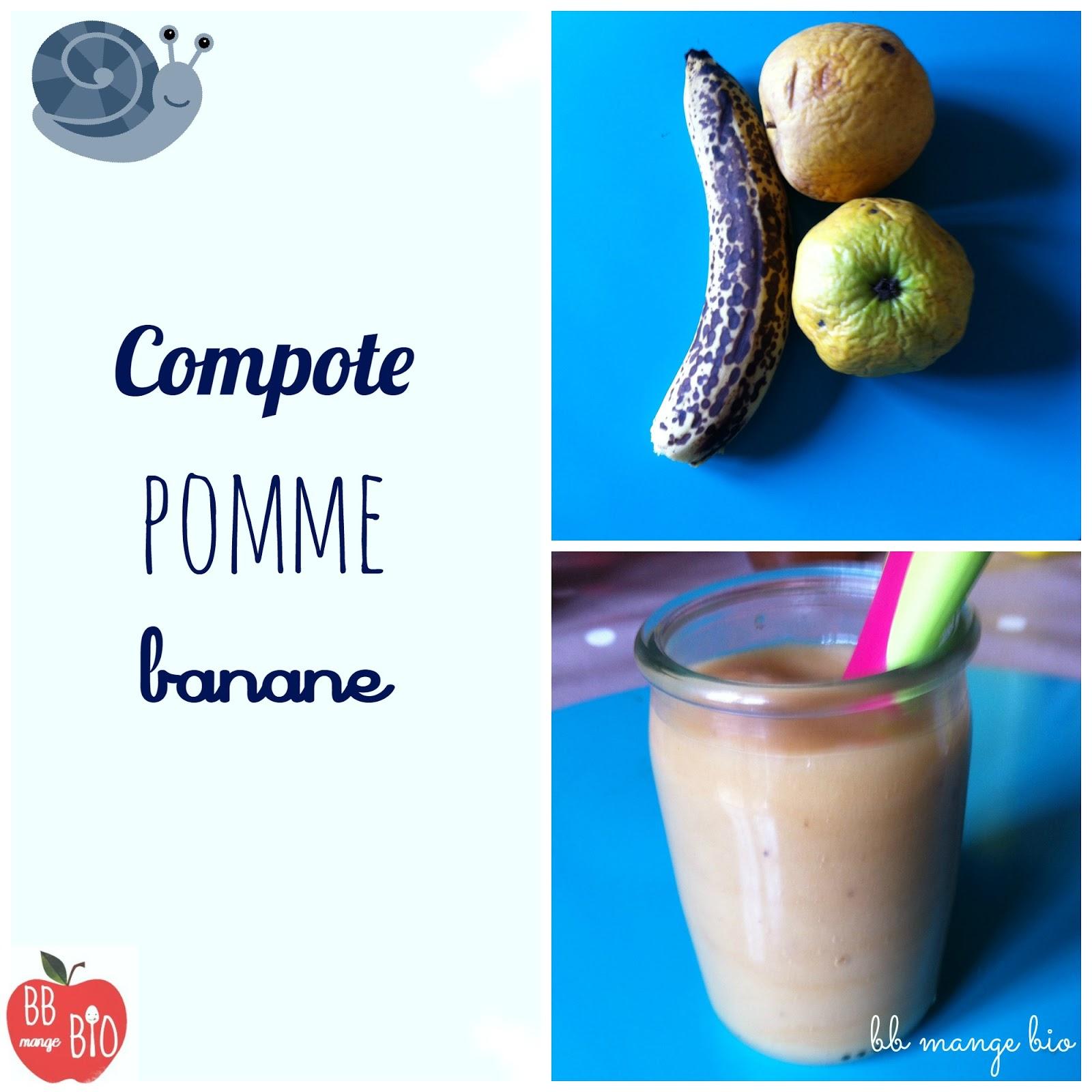 recette pour les bébés : compote pomme banane à partir de 6 mois BB mange bio