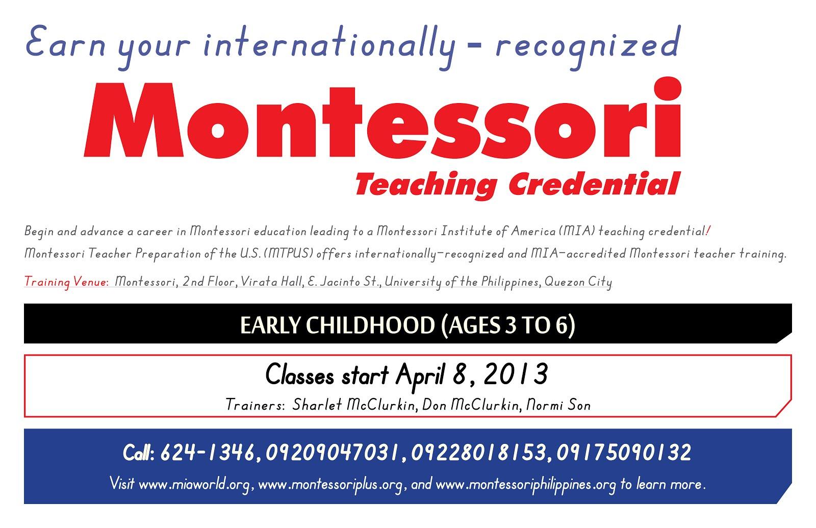 Montessori Philippines Montessori Teacher Preparation Of The Us