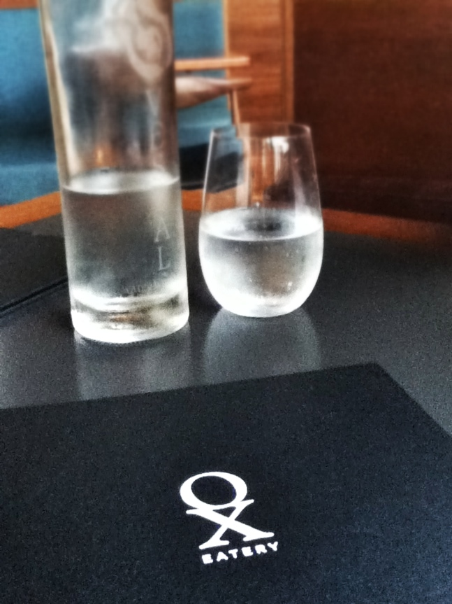 Mineral water and menu, Ox Restaurant
