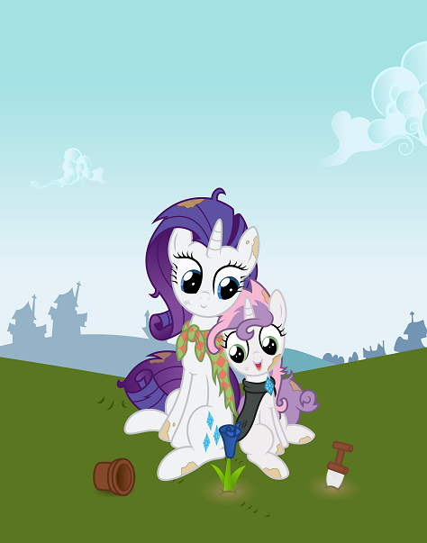Rarity and Sweetie Belle struggle as they plant the beautiful blue rose