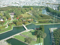 Fort Goryokaku from Goryokaku tower, sharp contrast between green park and white city is visible