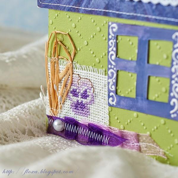 открытка-домик, открытка необычной формы, открытка с вышивкой, вышивка Волшебный мир сказок Бетрисс Потерр, вышивка фиалка,