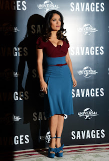 Salma Hayek in a tight dress at Savages Photocall in London