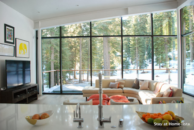Beautiful modern living room overseen from kitchen