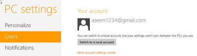 Windows 8 Metro Apps,Log in Using Local Account