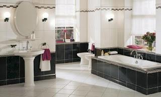 Baño negro y blanco