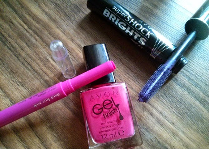 avon think fast pink lipstick avon parfait pink gel finish nail polish purple mascara violet shock