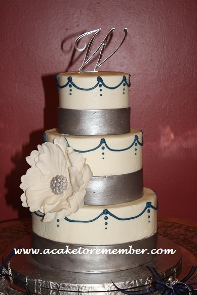 Navy Blue Wedding Cake | Silver And Navy Blue Wedding Cake