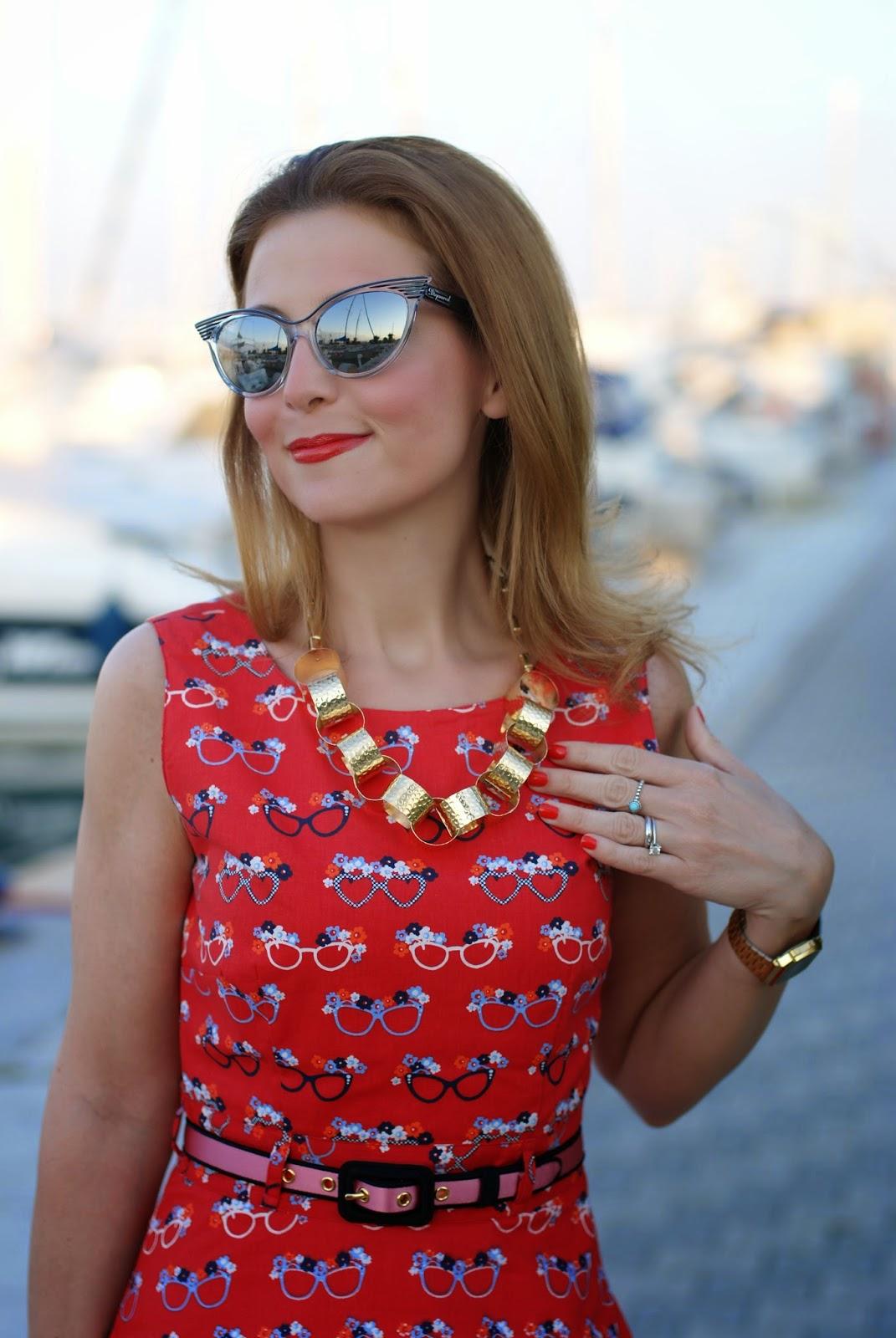 Dsquared2 cat eye mirror sunglasses, yumi glasses print dress, Vitti Ferria Contin necklace, Fashion and Cookies, fashion blogger