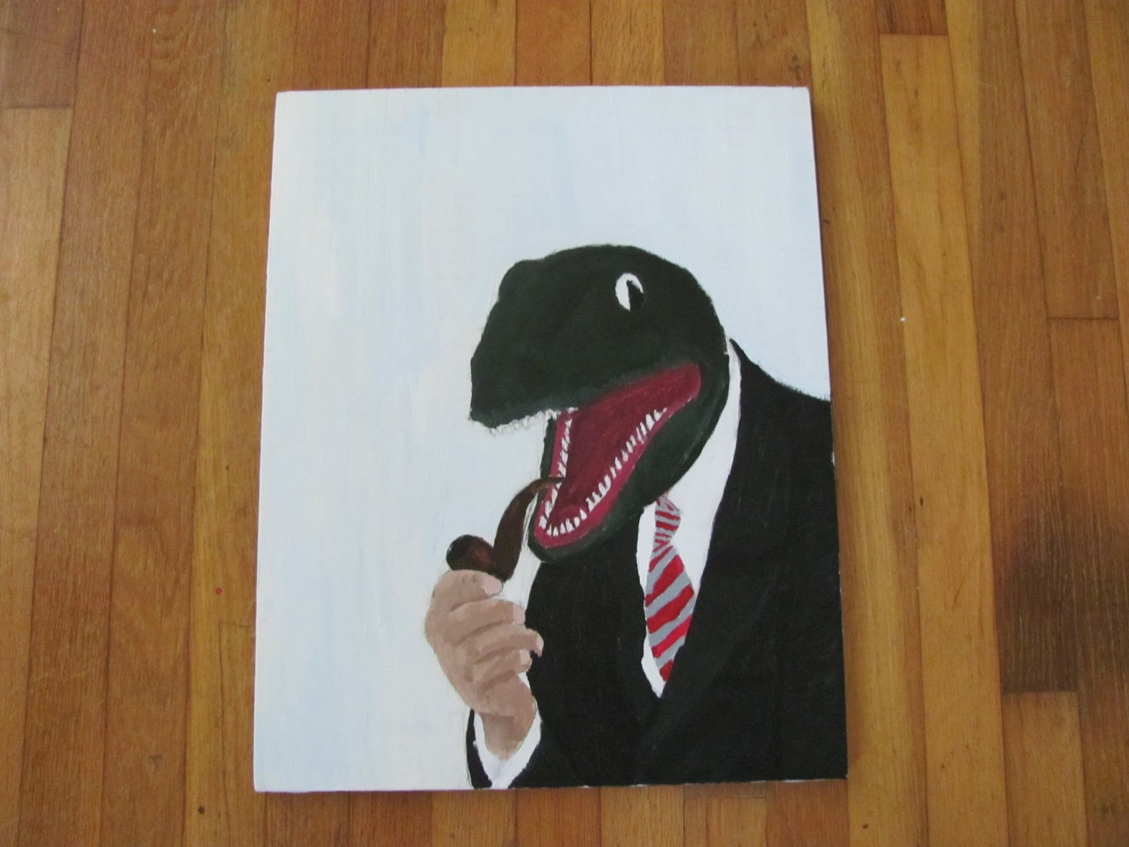 A green dinosaur in a business suit smoking a pipe