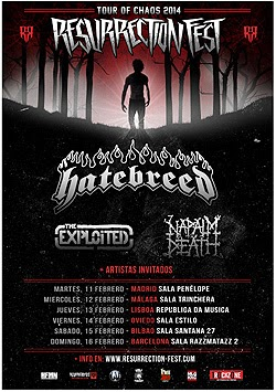 Hatebreed, Napalm Death y The Exploited, Tour Of Chaos en España y Portugal en febrero 2014