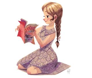 Dibujo niña leyendo Vogue