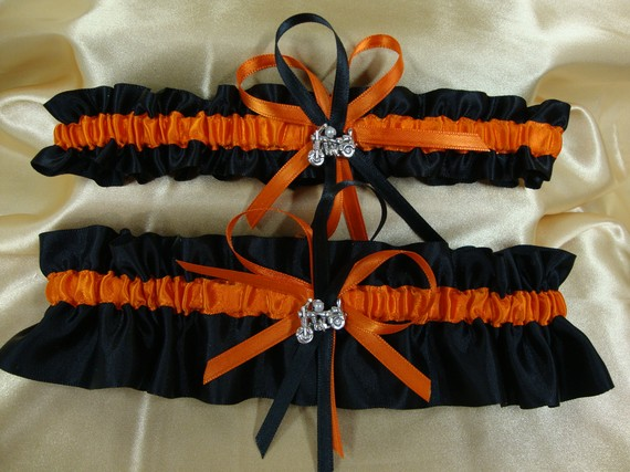 Wedding Garter Set With Black And Orange Harley Davidson Colors
