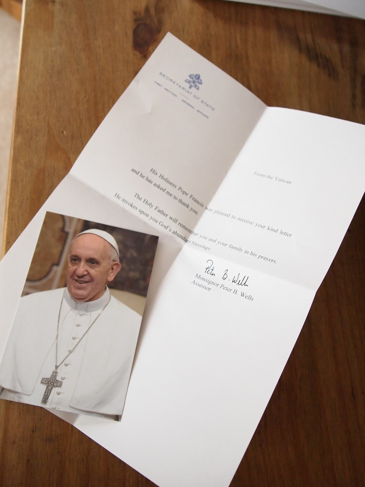 officially vatican mail sent through the apostolic nunciature to my own little isabel she was just thrilled it included a picture of pope francis with his