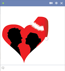 Silhouettes in a Christmas heart