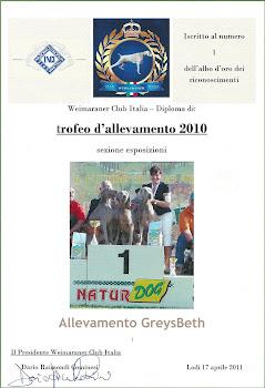 Vincitore Trofeo Allevamento 2010 WCI