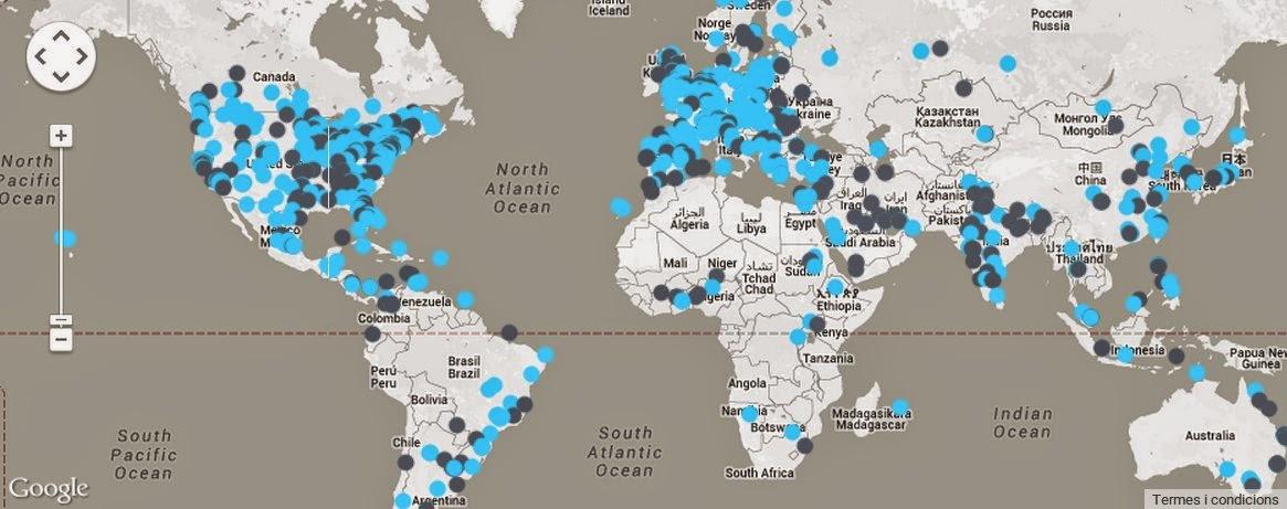 Mapa de tots els esdeveniments TEDx que es fan al mon.