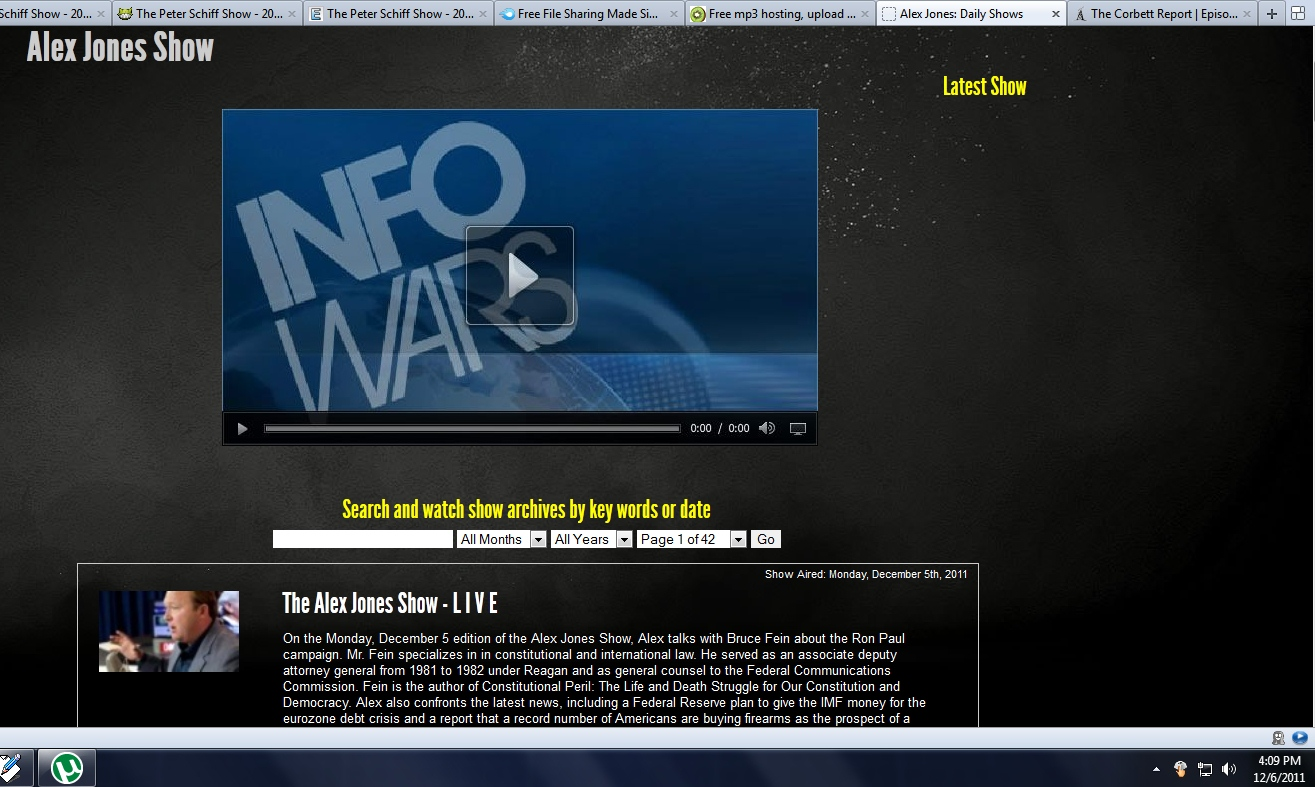 Alex Jones Show - 2011 Dec 27 TU [sebaygo1]
