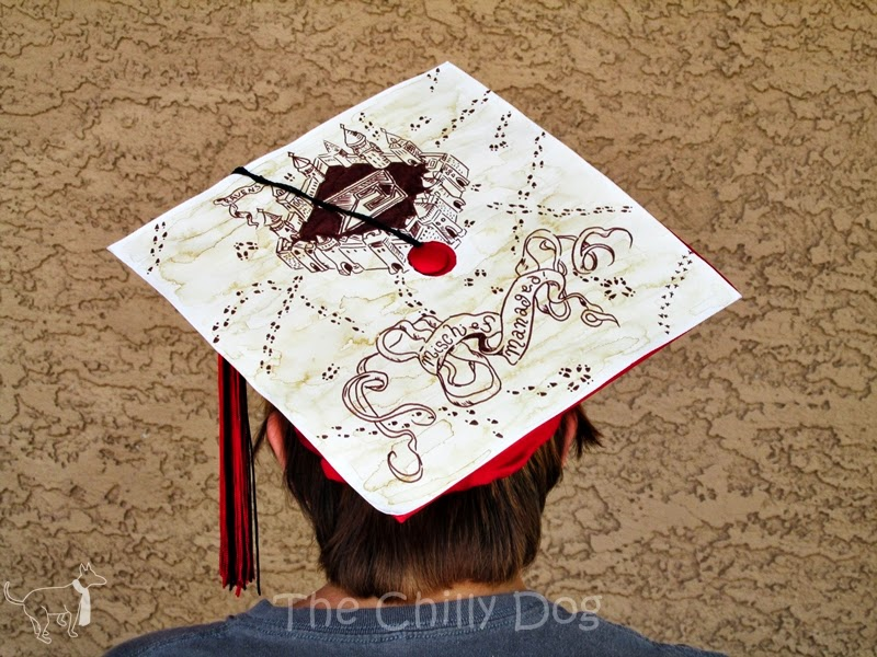 Mischief Managed Graduation Cap: Harry Potter Marauder's Map inspired mortarboard