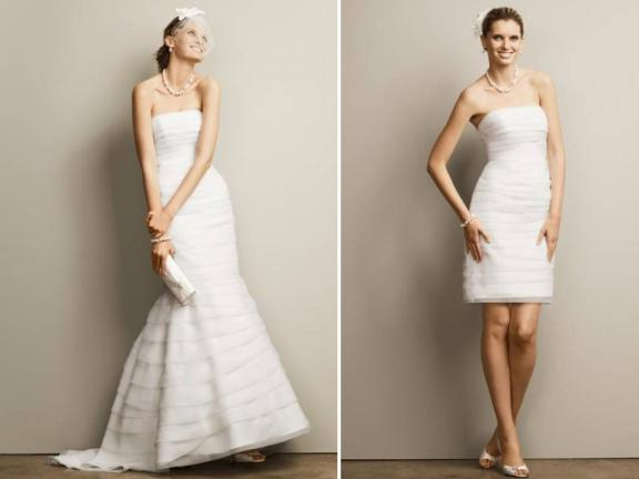 fashionable 2 in 1 simple wedding dresses