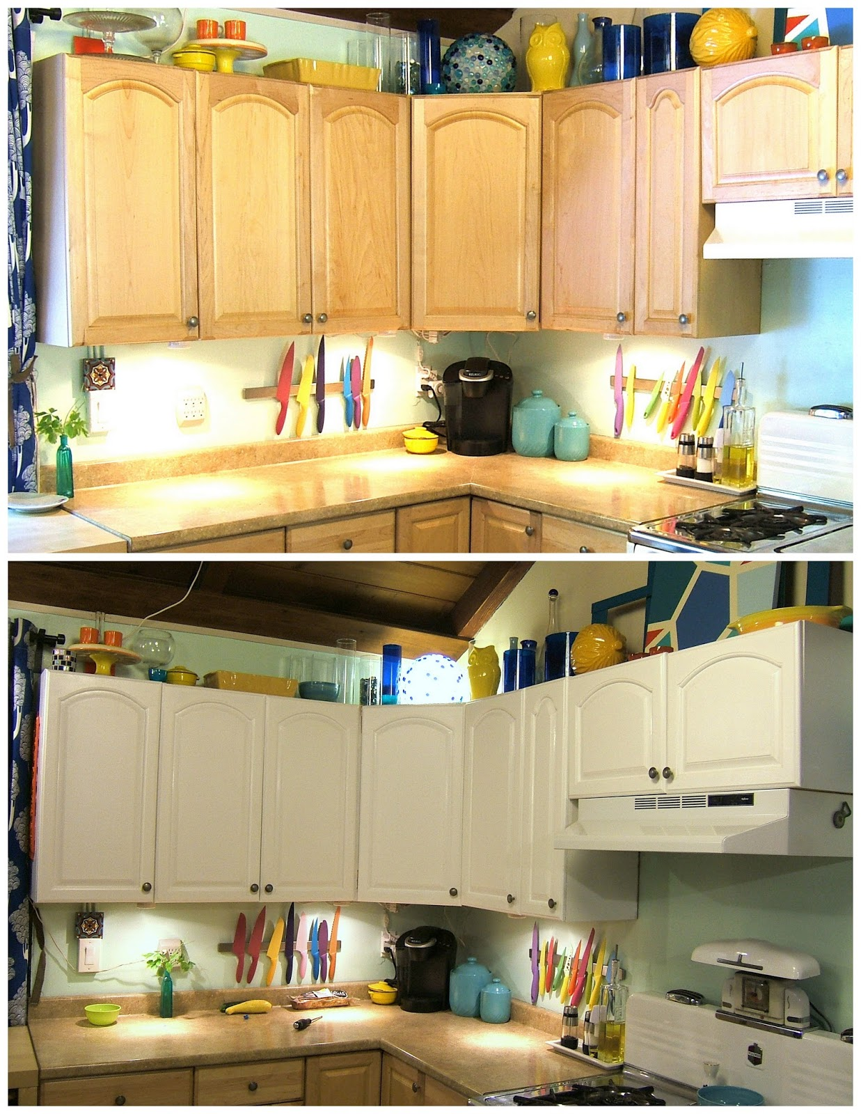 Repainting Kitchen Cabinets Before and After