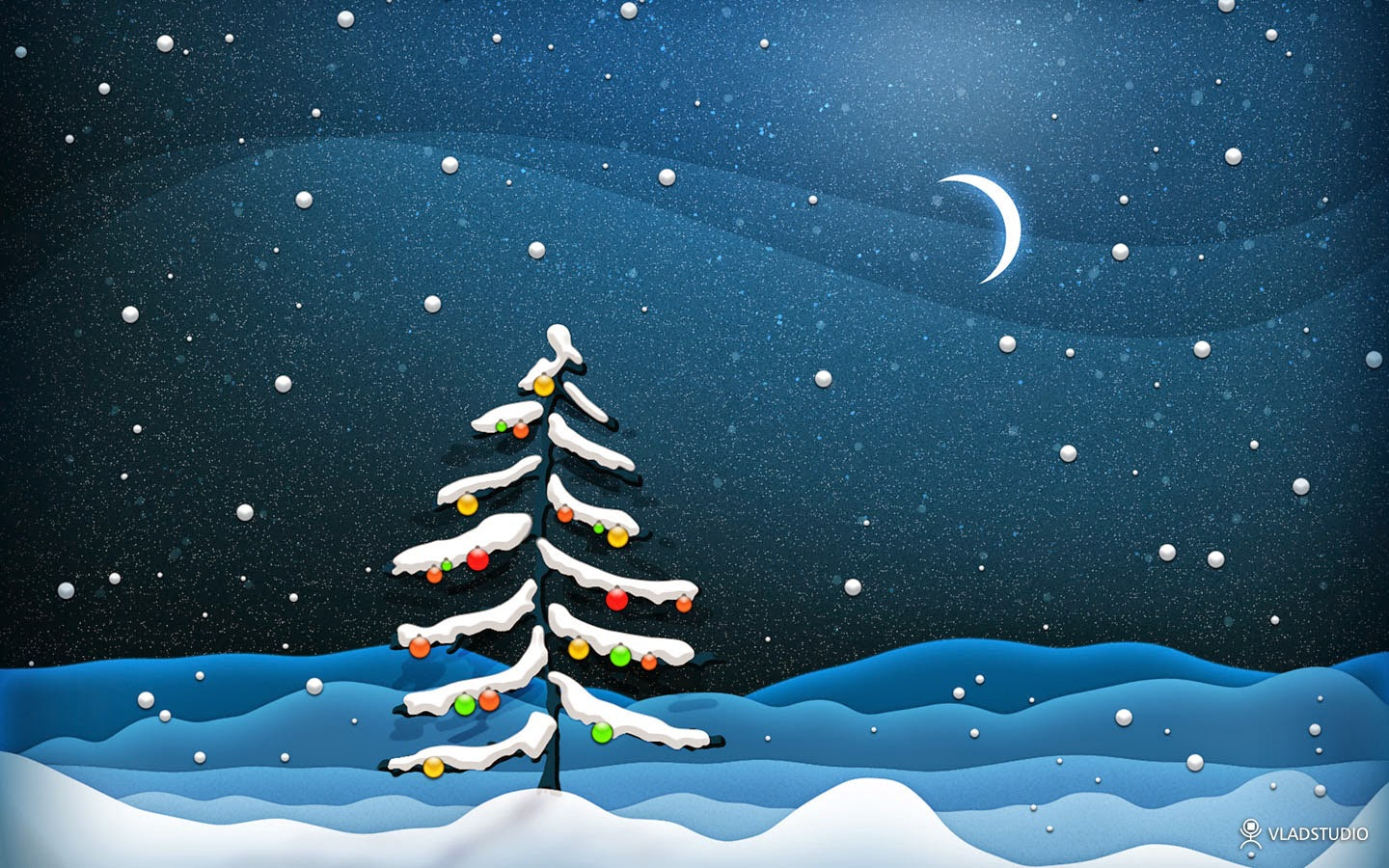 Christmas Tree With Moon Background