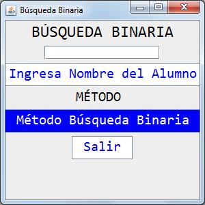 Método de Búsqueda Binaria, Programa en Java