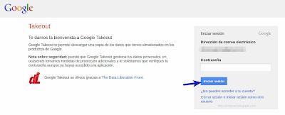 Iniciar sesión en Google Takeout
