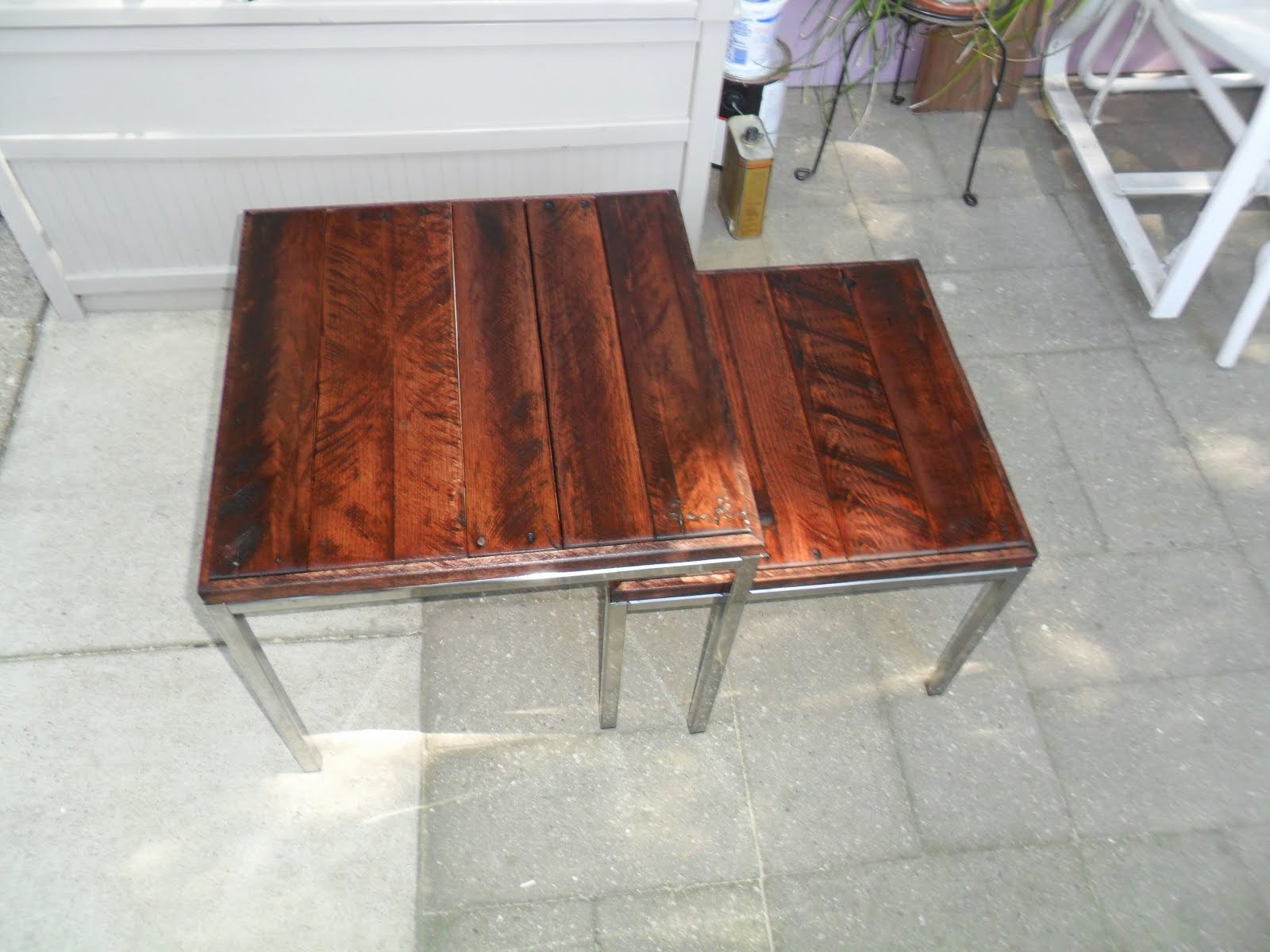 J N Taylor And Co Klubbo Nesting Coffee Tables With Recycled Pallet Tops By Jules Yap