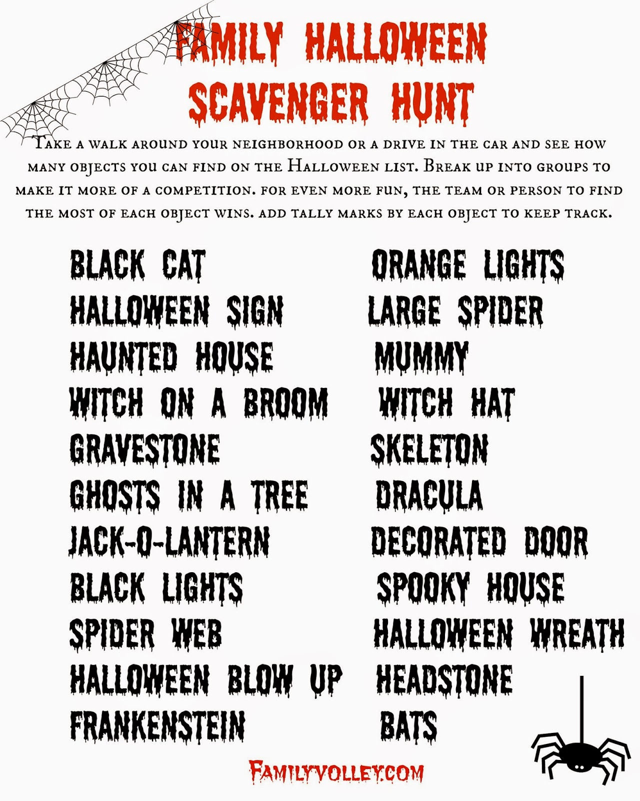 Family Volley Trick Or Treat Scavenger Hunt Happy Halloween