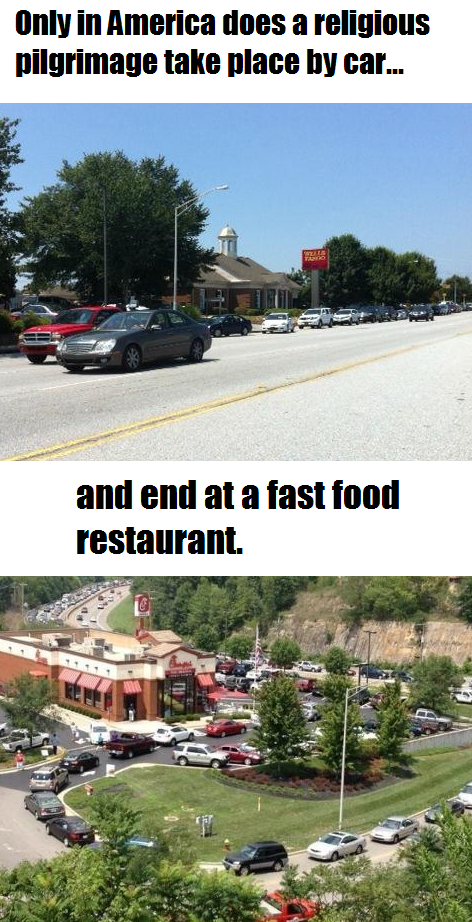 Religious pilgrimage take place by car and end at a fast food restaurant