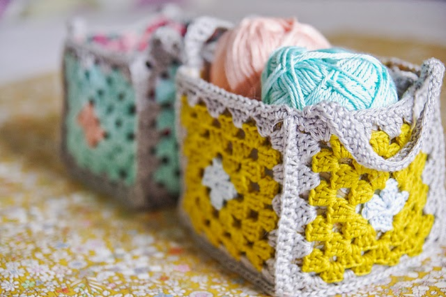 free crochet pattern granny square basket