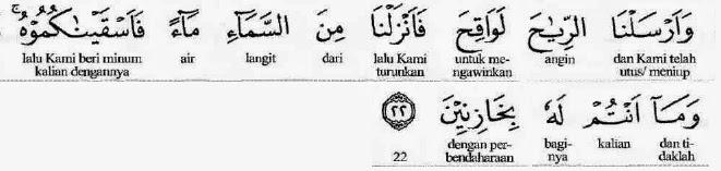 Quran surah al Hijr verse 22