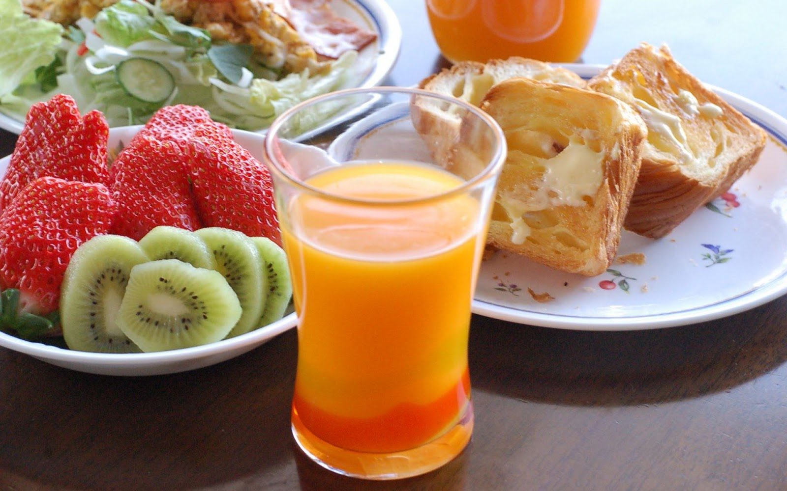 fresh fruit juice and breakfast