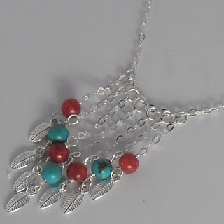 Tribal Style Genuine Blue Turquoise Red Coral Sterling Silver necklace ebay