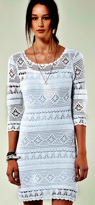 biala sukienka szydelkiem wzor