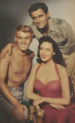 Linda Darnell with Tab Hunter and Donald Gray in 'Saturday Island' 1952