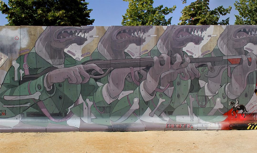 Once in a while, Aryz gets the chance to paint a new piece on the streets of his hometown, Barcelona in Spain.