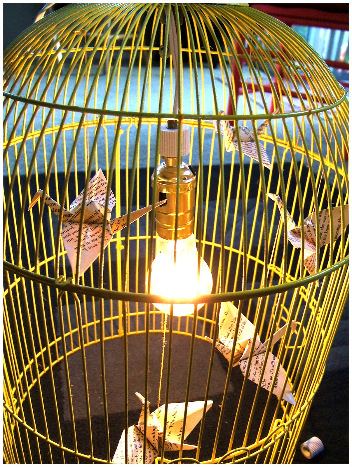 Nine red how to bird cage chandelier you do not want to have birds falling out over time i put mine in random spots sometimes putting two cranes at different heights on one string arubaitofo Gallery