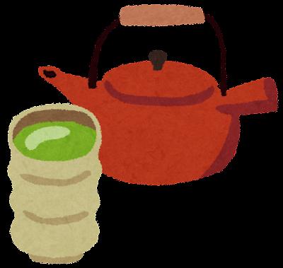 緑茶のイラスト「きゅうすとゆのみ」