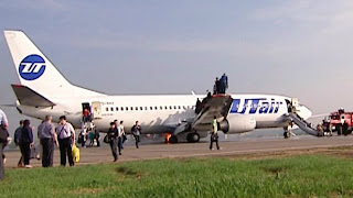 Screenshot of video footage from the UTair Boeing 737 fire
