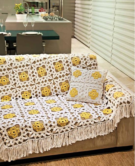 patrones de manta y almohadón tejido con ganchillo