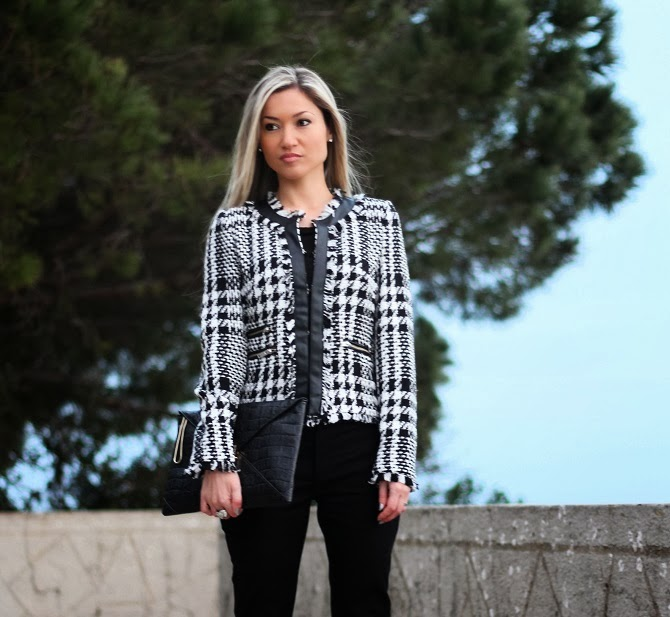 look do dia, ootd, outfit, personal stylist, blog de moda, blogs de moda, casual chic, clutch, crocodile skin, pele de crocodilo, plaid, xadrez, tartan, plaid jacket, mango, zara, french connection, accessorize, acessórios, outfit details, detalhes do look, pied de coq, zíper, couro, escarpins, black and white, estilo clássico, estilo moderno, tons neutros, moda mulher, fashion blog, fashion, moda, consultoria de imagem, blogue de moda, blogues de moda, portugal, style statement, first impression