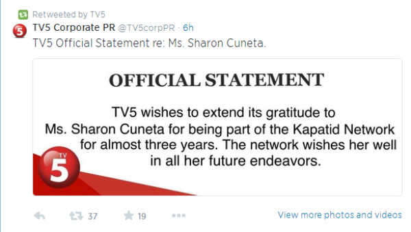 TV5 issues official statement about Sharon Cuneta leaving the network