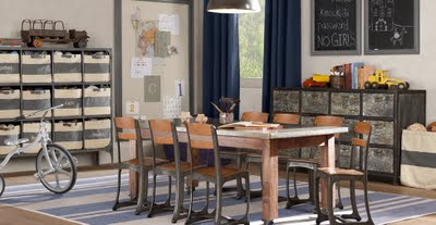 If Only I Still Needed A Kids Playroom/craft Room! I Love This Industrial Style  Room With The School Chairs And Stainless Topped Table.